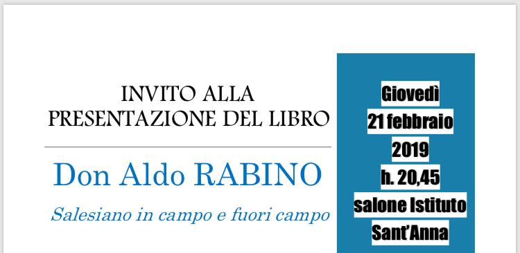 INVITO ALLA PRESENTAZIONE DEL LIBRO Don Aldo RABINO